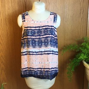 a.n.a Blue top w lace at bottom. Size XL